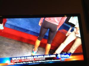 my friend Becca sent this shot from her t.v.! my butt was in everyone's living room this am, sorry ppl!