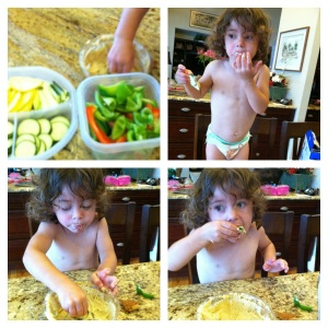 vegetables and humus make a mess! go shirtless:)